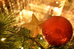 Christmas Decorations at Mall. Star and red ball Christmas decorations at a shopping mall Stock Photos