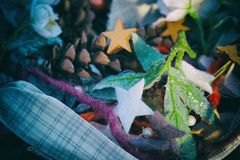 Christmas decorations, Christmas Market, Women`s hobby. Preparations for the holidays concept. Decorative Objects Close-up. Christmas decorations, Christmas royalty free stock images