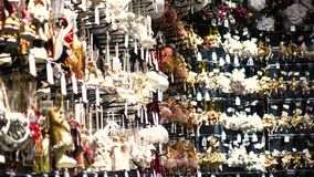 Christmas decorations on the market. Dnipro, Ukraine - December 08, 2017: Christmas decorations on the market close up stock video