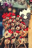 Christmas decorations on the market in Europe - a Tio de Nadal. A traditional  Christmas symbol of Catalonia, Spain Stock Photo