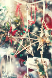 Christmas decorations on the market.  Festive Card. Vintage Ch Stock Photo