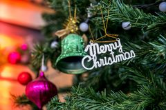 Christmas decorations,Marry Christmas on the Christmas tree Stock Image