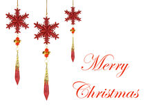 Christmas Decorations with Merry Christmas Text Royalty Free Stock Photography