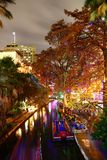 River Walk in San Antonio. Christmas decorations in Milam Park in downtown San Antonio, Texas. A bustling place with many restaurant and bars stock photo