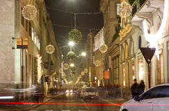 Christmas decorations on Milan streets. Christmas decorations on shopping street in Milan, Italy, December 11, 2013 Stock Image