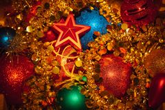 Christmas decorations mixed background Royalty Free Stock Photos