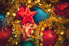 Christmas decorations mixed background Royalty Free Stock Photography