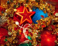Christmas decorations mixed in storage box Royalty Free Stock Images