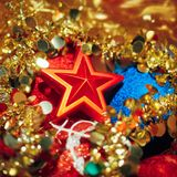 Christmas decorations mixed in storage box. Closeup view Stock Photo