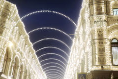 Christmas decorations in Moscow city. GUM Shopping mall Royalty Free Stock Photos