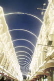 Christmas decorations in Moscow city. GUM shopping mall Royalty Free Stock Photography