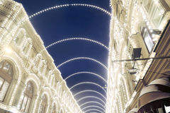 Christmas decorations in Moscow city. GUM shopping mall Stock Images