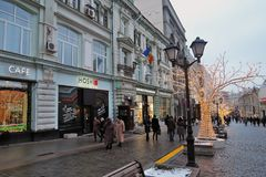 Christmas decorations in Moscow city historic center.