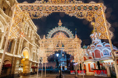 Christmas decorations in Moscow, Russia Royalty Free Stock Photos