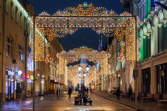 Christmas decorations in Moscow, Russia Royalty Free Stock Photography