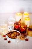 Christmas Decorations with Mulled Wine Stock Photography