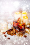 Christmas Decorations with Mulled Wine and Snow Stock Image