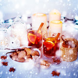 Christmas Decorations with Mulled Wine and Snow Royalty Free Stock Photo