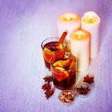 Christmas Decorations with Mulled Wine Royalty Free Stock Images