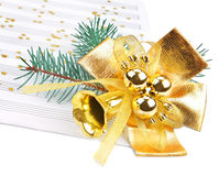Christmas decorations. And music sheet  on white background Royalty Free Stock Photo