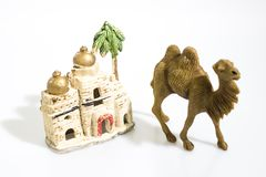 Christmas decorations, nativity scene houses isolated in a white stock image