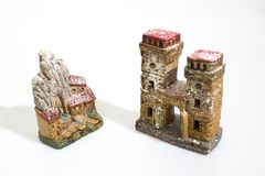 Christmas decorations, nativity scene houses isolated in a white royalty free stock image