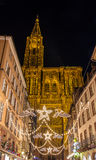 Christmas decorations near the Cathedral - Strasbourg Royalty Free Stock Photo