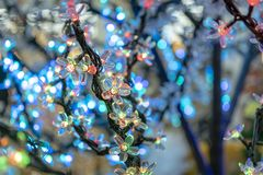 Free Christmas Decorations, Neon Garlands, Glowing Flowers, The Interior Of The New Year. Stock Image - 130416871