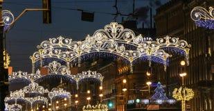 Christmas decorations on the Nevsky Prospect. Royalty Free Stock Photo