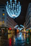 Christmas decorations in New Bond Street, London stock photography