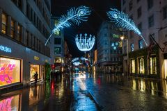 Christmas decorations in New Bond Street, London stock images