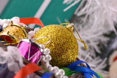 Christmas decorations, new year invitation card, drums and balls Royalty Free Stock Photography