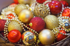 Christmas decorations. New Year, Christmas tree balls decorations, red and gold Stock Photos
