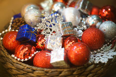 Christmas decorations. New Year, Christmas tree balls decorations, red and silver Royalty Free Stock Image