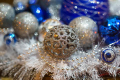Christmas decorations. New Year, Christmas tree balls decorations, silver Stock Photo