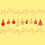 Christmas decorations for the New year on a yellow background Stock Image