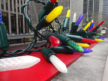 Christmas Decorations in New York City. Larger than life Christmas Tree Lights line the sidewalks of downtown New York City during the holiday season stock photos