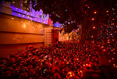 Christmas decorations by night Stock Images