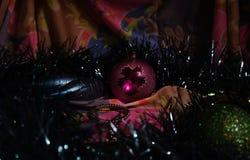 Christmas decorations at night stock photos