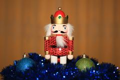 Christmas decorations with a nutcracker Royalty Free Stock Images