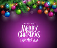 Christmas Decorations and Objects. Merry Christmas Greetings with Christmas Decorations and Objects in Dark Night Background. Vector Illustration Royalty Free Stock Images