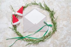 Christmas decorations and objects for mock up template design. Notebook, toy truck and wreath. View from above. Flat lay.  royalty free stock image