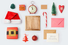 Christmas decorations and objects for mock up template design.View from above. Flat lay Stock Photo