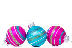 Christmas Decorations Of Baubles On White Stock Photo