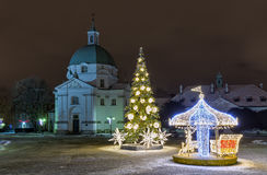 Christmas decorations on the old city in Warsaw. Royalty Free Stock Photography