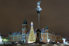 Christmas decorations on the old city in Warsaw. Stock Photos