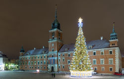 Christmas decorations on the old city in Warsaw. Royalty Free Stock Photo