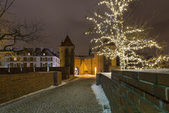 Christmas decorations on the old city in Warsaw. Stock Photo