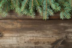 Christmas background 2018. Christmas decorations on old dark boards. Christmas background. New Year background. Xmax background. Christmas tree. Natural color Royalty Free Stock Images
