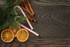 Christmas decorations on old oak table Royalty Free Stock Photography